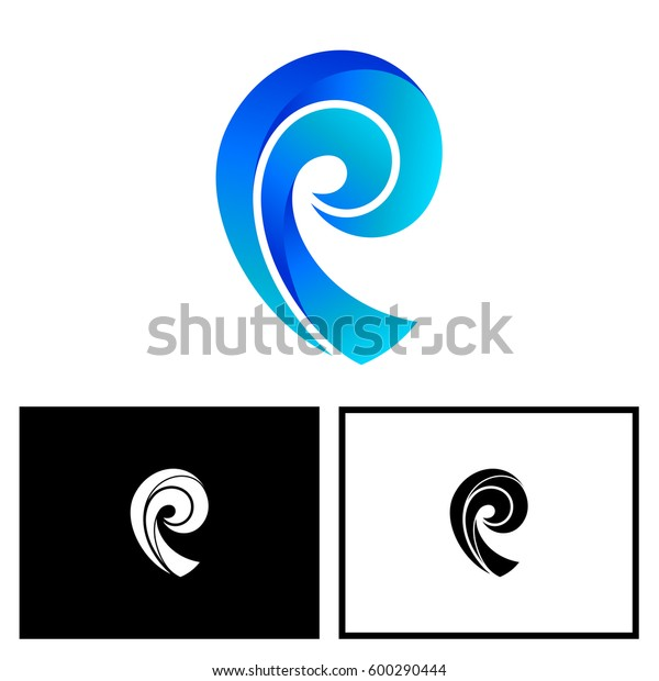 letter p with wave style