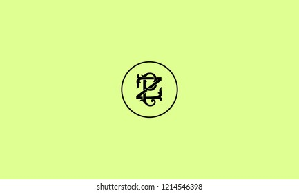 LETTER P AND Z SIGNATURE LOGO WITH CIRCLE FRAME FOR LOGO DESIGN OR ILLUSTRATION USE