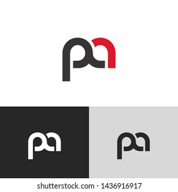 Letter pa linked lowercase logo design template elements. Red letter Isolated on black white grey background. Suitable for business, consulting group company.