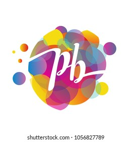 Letter PB logo with colorful splash background, letter combination logo design for creative industry, web, business and company.