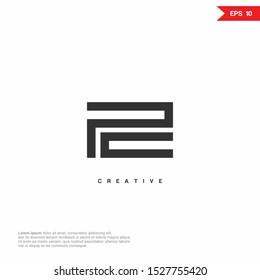 Letter PC, CP Logo icon monogram design. Vector graphic design template element.