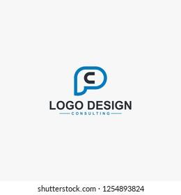 Letter PC line logo design vector