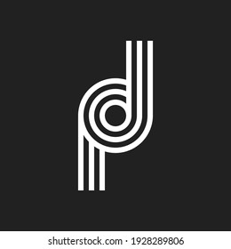 Letter PD DP POD DOP logo with black and white background. Vector illustration.