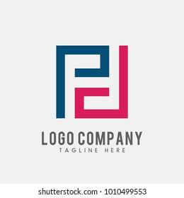 letter PD logo abstract, vector alphabet