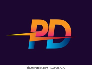 Letter PD logo with Lightning icon, letter combination Power Energy Logo design for Creative Power ideas, web, business and company.