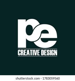 Letter Pe simple logo icon design vector