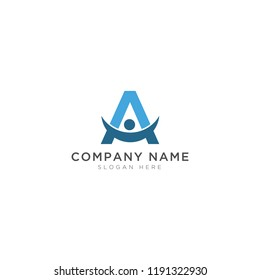 Letter A and people Logo Template Design Vector, Emblem, Design Concept, Creative Symbol, Icon