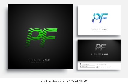 Letter PF logotype with colorful circle, with striped composition letter, sets of business card for company identity, creative industry, web.