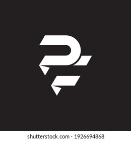 letter PF simple geometric logo vector isolated on black background