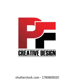 Letter PF simple monogram logo design vector