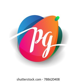 Letter PG logo with colorful splash background, letter combination logo design for creative industry, web, business and company.