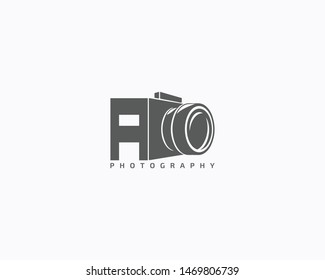 letter a photography camera logo design