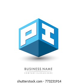Letter PI logo in hexagon shape and blue background, cube logo with letter design for company identity.