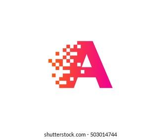 A Letter Pixel Motion Logo Design Template