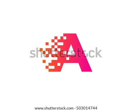 Letter Pixel Motion Logo Design Template Stock Vector Royalty Free