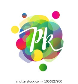 Letter PK logo with colorful splash background, letter combination logo design for creative industry, web, business and company.