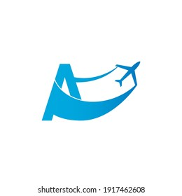 Letter A with plane logo icon design vector illustration template