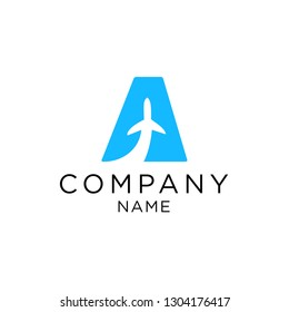 letter a with plane vector logo design