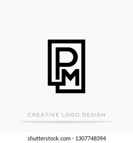 Letter pm initial logo, square design for Corporate Business Identity, Alphabet letter vector illustration