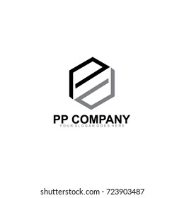 Letter PP Logo Company Vector Illustration