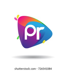 Letter PR logo with colorful splash background, letter combination logo design for creative industry, web, business and company.
