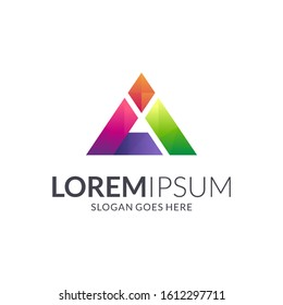 Letter A prism gradient colorful logo design, pyramid triangle crystal texture vector logo, abstract mosaic design template, creative initial letter