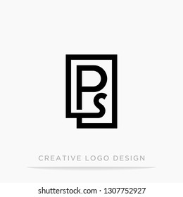 Letter ps initial logo, square design for Corporate Business Identity, Alphabet letter vector illustration