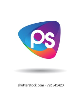 Letter PS logo with colorful splash background, letter combination logo design for creative industry, web, business and company.