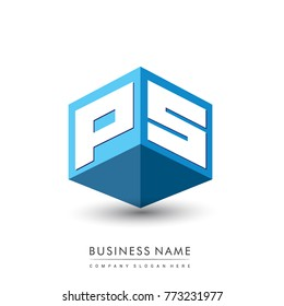 Letter PS logo in hexagon shape and blue background, cube logo with letter design for company identity.
