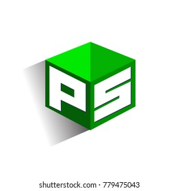 Letter PS logo in hexagon shape and green background, cube logo with letter design for company identity.