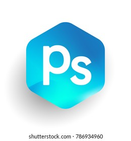 Letter PS logo in hexagon shape and colorful background, letter combination logo design for business and company identity.