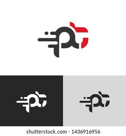 Letter pt linked lowercase logo design template elements. Red letter Isolated on black white grey background. Suitable for business, consulting group company.