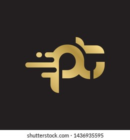 Letter pt linked lowercase logo design template elements. Gold letter Isolated on black  background. Suitable for business, consulting group company.