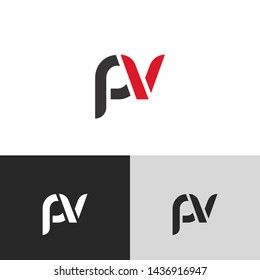 Letter pv linked lowercase logo design template elements. Red letter Isolated on black white grey background. Suitable for business, consulting group company.