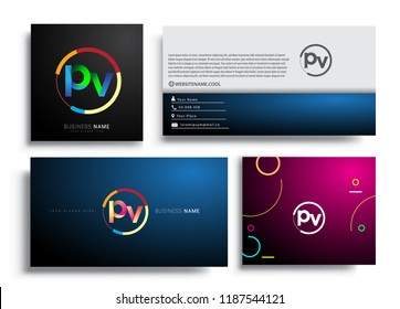 Letter PV logotype with colorful circle, letter combination logo design with ring, sets of business card for company identity, creative industry, web, isolated on white background.