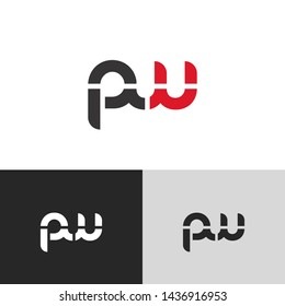 Letter pw linked lowercase logo design template elements. Red letter Isolated on black white grey background. Suitable for business, consulting group company.