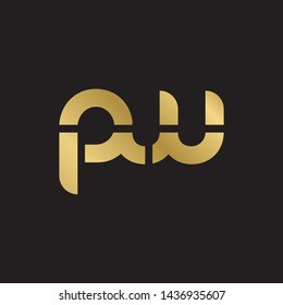 Letter pw linked lowercase logo design template elements. Gold letter Isolated on black  background. Suitable for business, consulting group company.