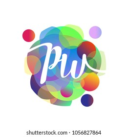 Letter PW logo with colorful splash background, letter combination logo design for creative industry, web, business and company.