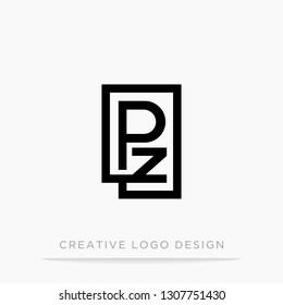 Letter pz initial logo, square design for Corporate Business Identity, Alphabet letter vector illustration