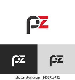 Letter pz linked lowercase logo design template elements. Red letter Isolated on black white grey background. Suitable for business, consulting group company.