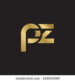 Letter pz linked lowercase logo design template elements. Gold letter Isolated on black  background. Suitable for business, consulting group company.