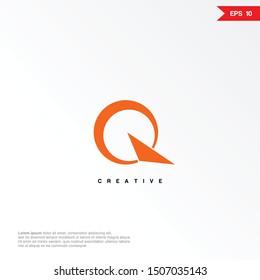 Letter Q arrow logo design template. Universal vector icon. Modern logotype symbol