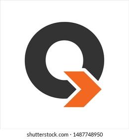 Letter Q and Arrow vector logo.