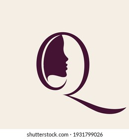 Letter Q beauty salon logo.Beautiful woman profile view portrait.Uppercase lettering icon.Alphabet initial sign for spa, aesthetics, beautician business.Modern, elegant, luxury style.
