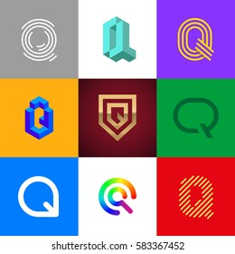 "Letter ""Q"" big logo pack. Isometric, minimal, line, colorful, ribbon, geometric, luxury vector monograms. Eps10 format."