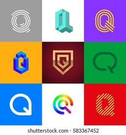 "Letter ""Q"" big logo pack. Isometric, minimal, line, colorful, ribbon, geometric, luxury vector monograms. Eps10 format."