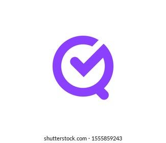 Letter Q with check mark logo icon design template elements