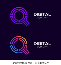 Letter Q Colorful logotype with Three Line, Square and Circle shape Maze Labyrinth, Technology and Digital Connection Link concept for your Corporate identity