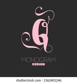 Letter Q copperplate calligraphy monogram design