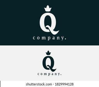 Letter Q crown and floral logo template. Royal style typographic icon. Vintage style. Elegant symbol for book design, brand name, business card, Restaurant, Boutique, Hotel and wedding invitation.